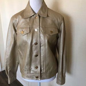 St. John genuine khaki leather jacket size SP